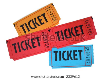 Close-up of general admission tickets isolated in white background - stock photo