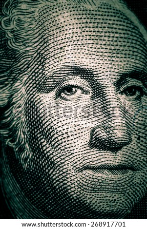 Close-up of George Washington on US one dollar bill - stock photo