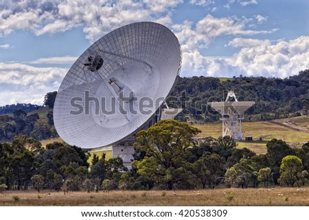 Close up of giant radio telescope antenna array of CSIRO - part of NASA space communication network in Tidbinbilla of ACT, Canberra, Australia.