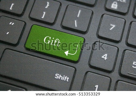 Close up of gift button on computer keyboard