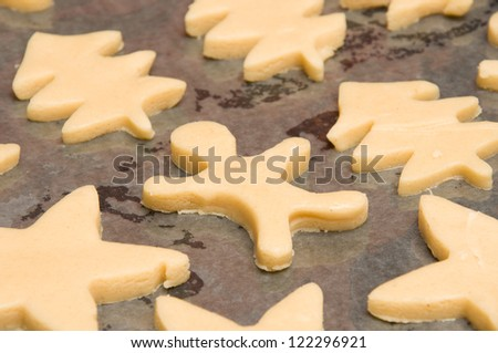 close up of gingersnap on a baking sheet - stock photo