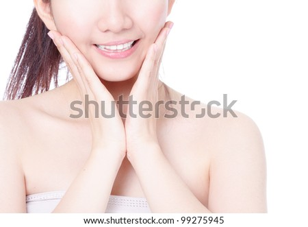 Close up of girl mouth with sweet smile and hand finger touch face isolated on white background, model is a asian beauty