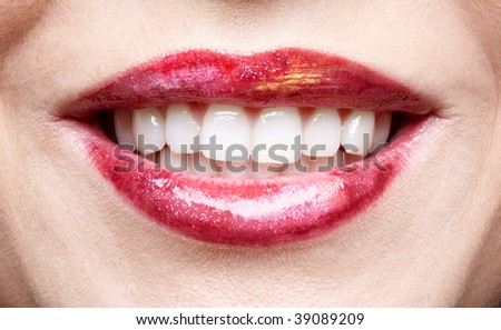 close-up of girl's lips - stock photo