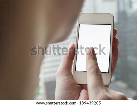 Close up of girl using smart phone mobile. - stock photo