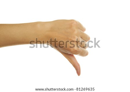 Close-up of girls hand thumb down. Isolated on white background - stock photo
