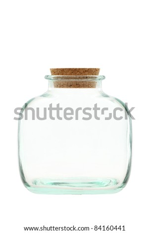 Close up of glass bottle on white background - stock photo