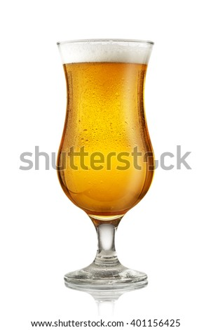 Close up of glass of beer isolated on white background - stock photo