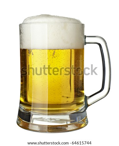 close up of glass of beer on white background  with clipping path