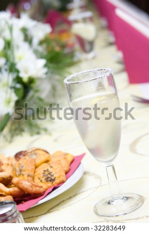 Close up of glass on a wedding table - stock photo