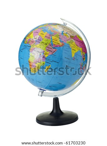 close up of globe on white background with clipping path - stock photo