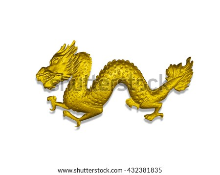 Close up of gold iron dragon isolated on white background, Clipping path included.  - stock photo