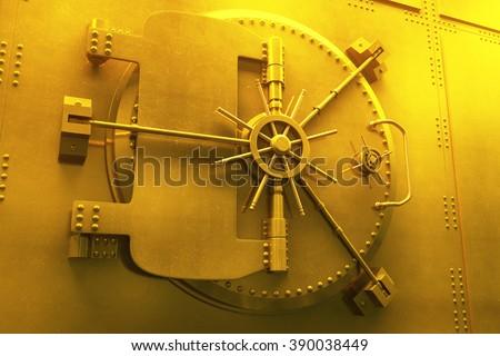 Close up of golden bank vault door, 3D Render - stock photo