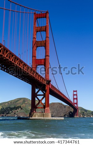 Close up of Golden Gate Bridge in San Francisco California from Fort Point National Historic Site on sunny morning