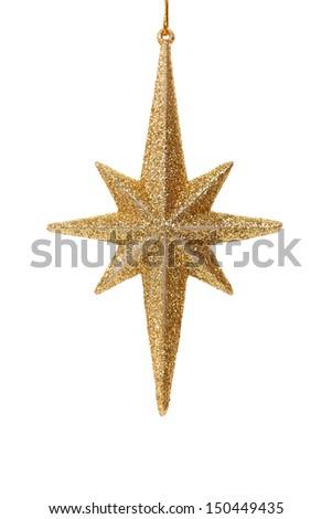 Close up of golden glitter star - stock photo