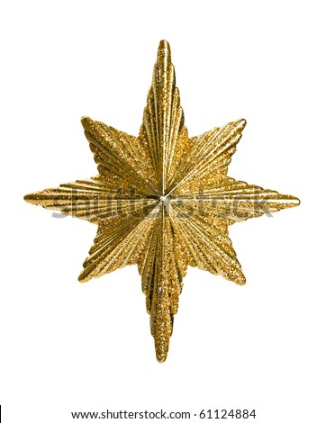 Close up of  golden glitter star isolated on white background. - stock photo