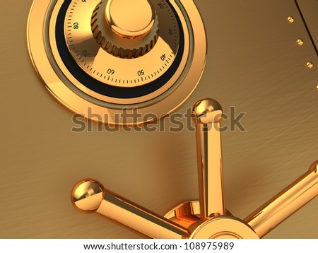 Close-up of  golden safe with code and handle - stock photo
