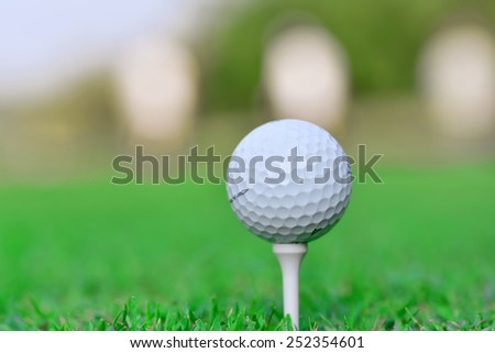 Close up of golf ball on tee in golf course