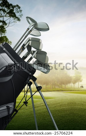 close up of golf equipment on the course - stock photo