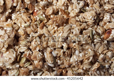Close up of granola and nuts - stock photo