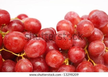 Close up of grapes in details isolated on white background.