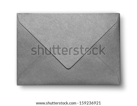 Close-up of gray envelope on white with shadow - stock photo
