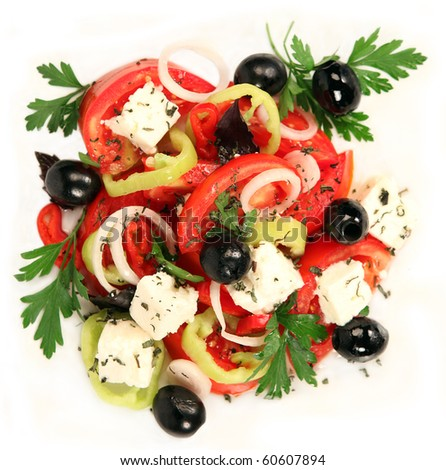 Close-up of greek salad - stock photo