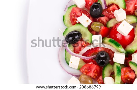 Close up of greek salad. Whole background.