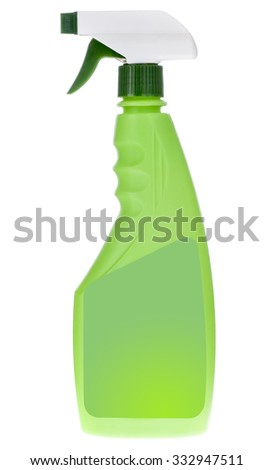 close up of green plastic dispenser with cleaning liquid isolated on white background
