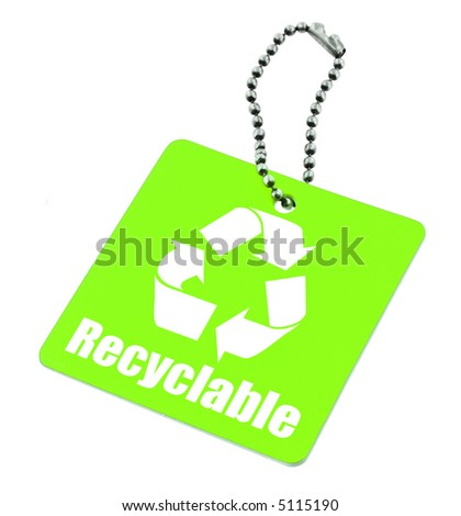close-up of green tag with recyclable symbol isolated on white background - stock photo