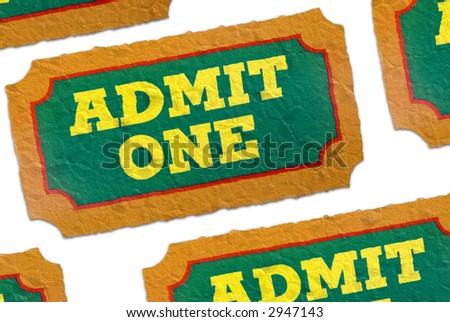 Close-Up of green,yellow and orange crumpled General Admission Tickets isolated over a white background - stock photo