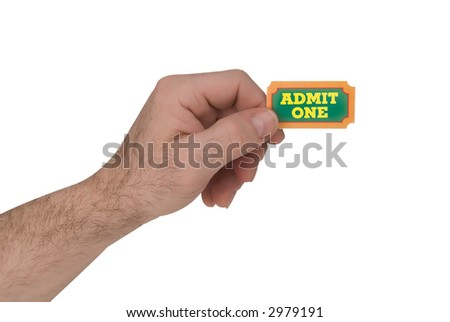 Close-Up of green,yellow and orange General Admission Ticket in a man's hand isolated over a white background with a clipping path - stock photo