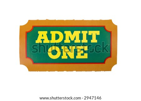 Close-Up of green,yellow and orange General Admission Ticket isolated over a white background - stock photo
