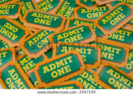 Close-Up of green,yellow and orange General Admission Tickets - stock photo
