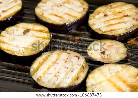 close up of grilled eggplant