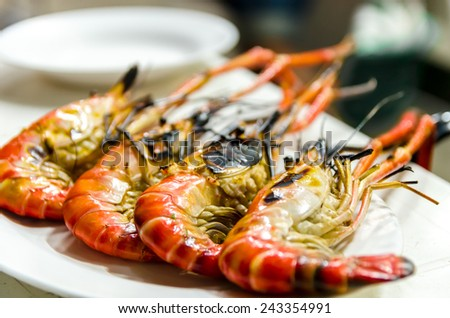 Close up of Grilled Shrimps on white plate, Thailand - stock photo