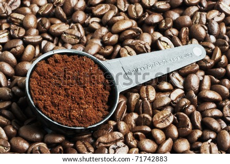 Close up of ground coffee in measurement spoon - stock photo