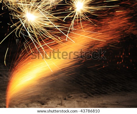 Close up of ground fireworks - stock photo