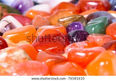Close-up of group colorful semi-precious stones - stock photo