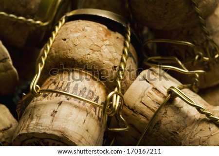 Close-up of group of Champagne corks - stock photo