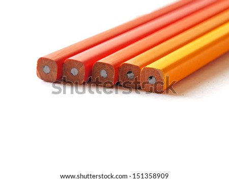 Close up of group of new unsharpen pencils lined up