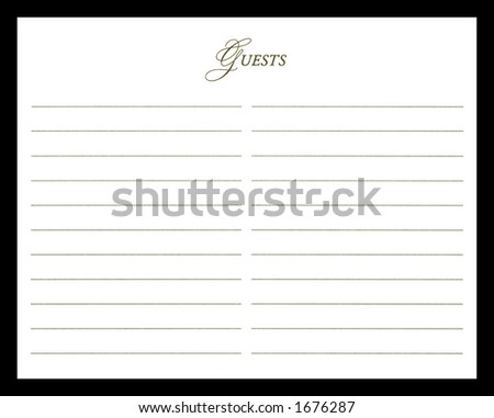 Close-up of Guest Sign-In Book Isolated on a Black Background