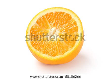 Close up of half orange isolated on white background.