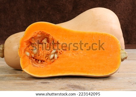 close up of halved butternut squash                                - stock photo