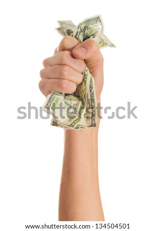 Close-up Of Hand Crushing Bank Note On White Background - stock photo