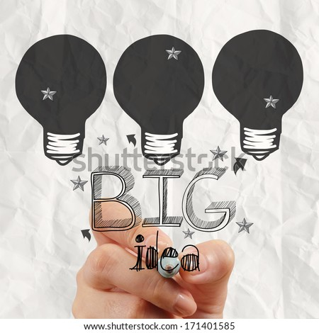 close up of hand drawing the big idea diagram as concept - stock photo
