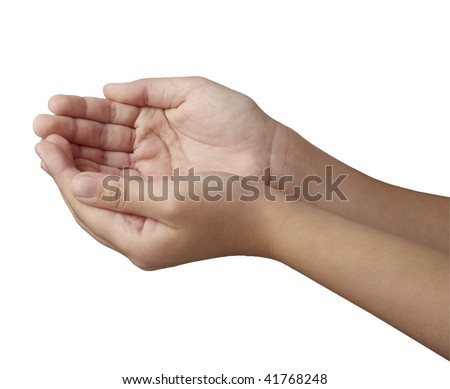 close up of hand gesturing, on white background with clipping path