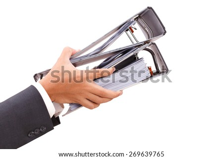 close up of hand holding binder isolate on white clipping path - stock photo