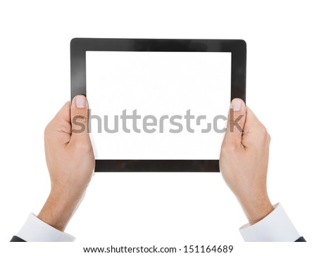 Close-up Of Hand Holding Digital Tablet Over White Background