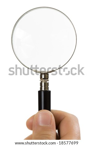 close-up of hand holding magnifying glass isolated on white