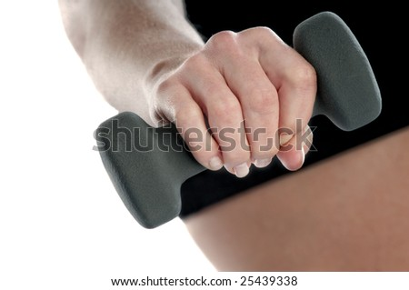 Close-up of hand of a healthy young female excersing with weights